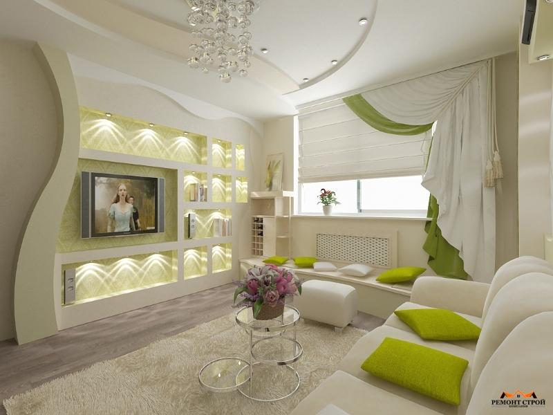 Евроремонт гостиной комнаты