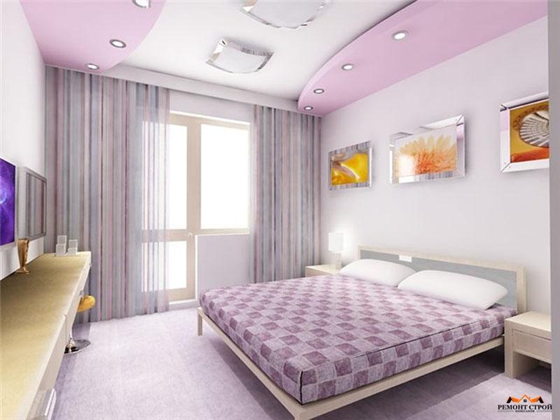 Натяжные потолки в спальню двух цветов