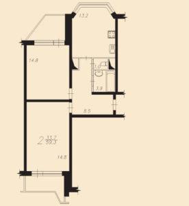 ремонт 2 квартиры 59,3 м2